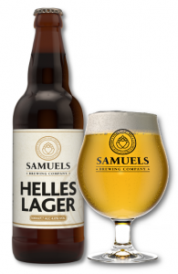 Samuels Helles Lager bottle and glass