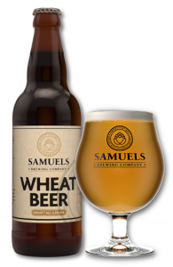 Samuels Wheat Beer bottle and glass